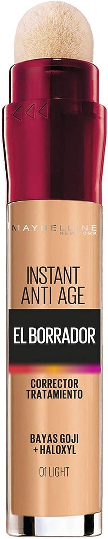 Maybelline New York, Corrector de Ojeras, Bolsas e Imperfecciones, Borrador Ojos, 01 Light, 6.8 ml