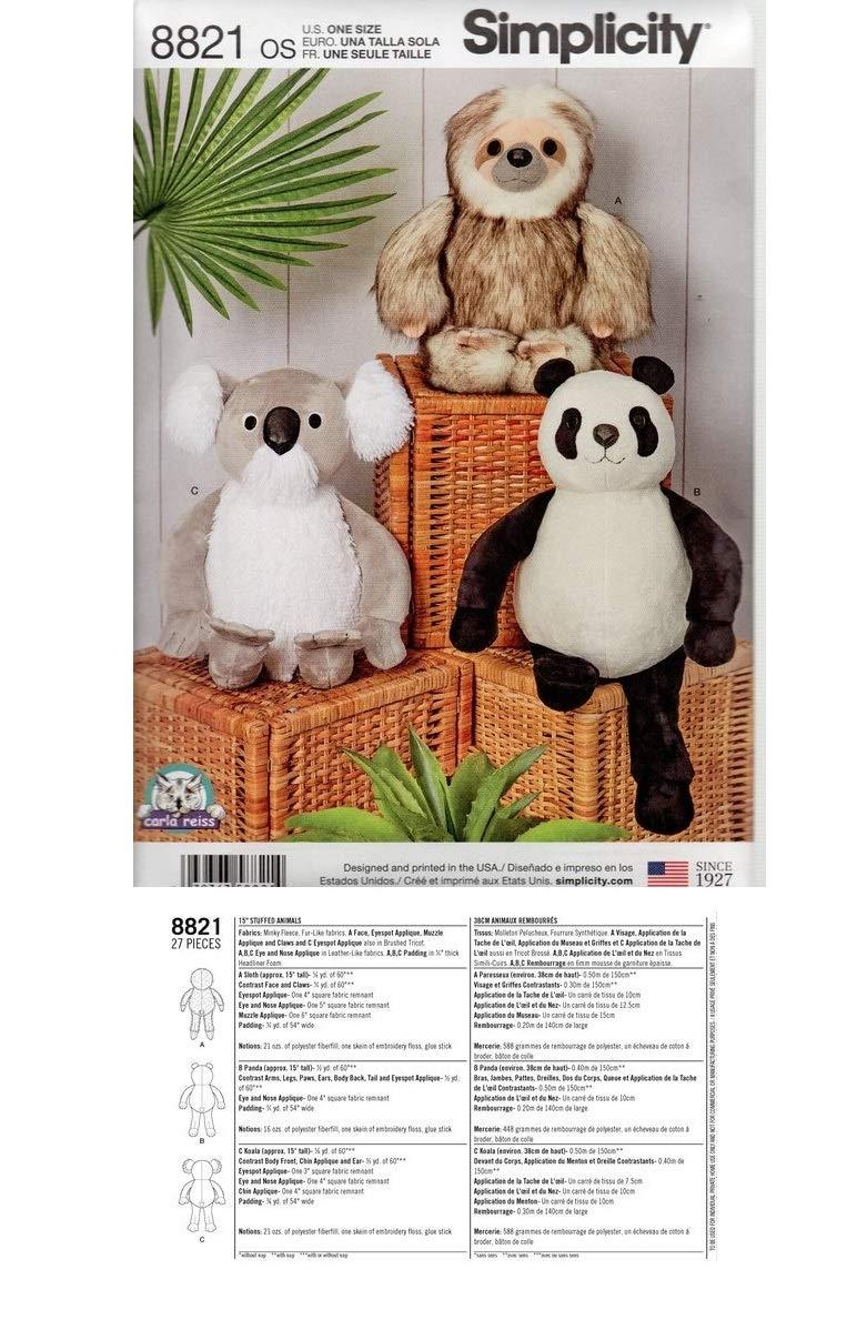 Sewing Pattern 8821 - Use to Make - 38cm Stuffed Animals - Sloth, Panda, Koala   B07KN3Y87F
