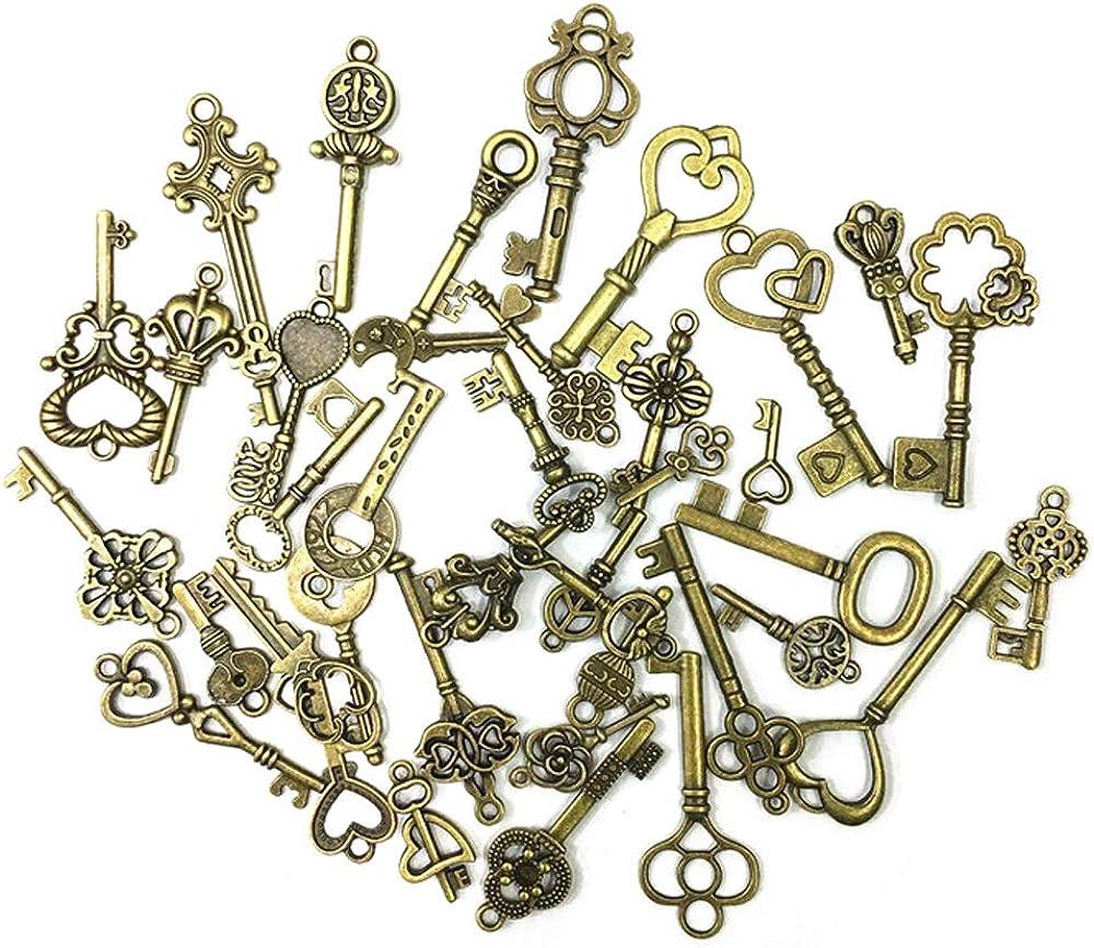 Gobesty - Juego de 80 llaves de esqueleto antiguas con colgantes de color bronce, para hacer joyas, proyectos de manualidades