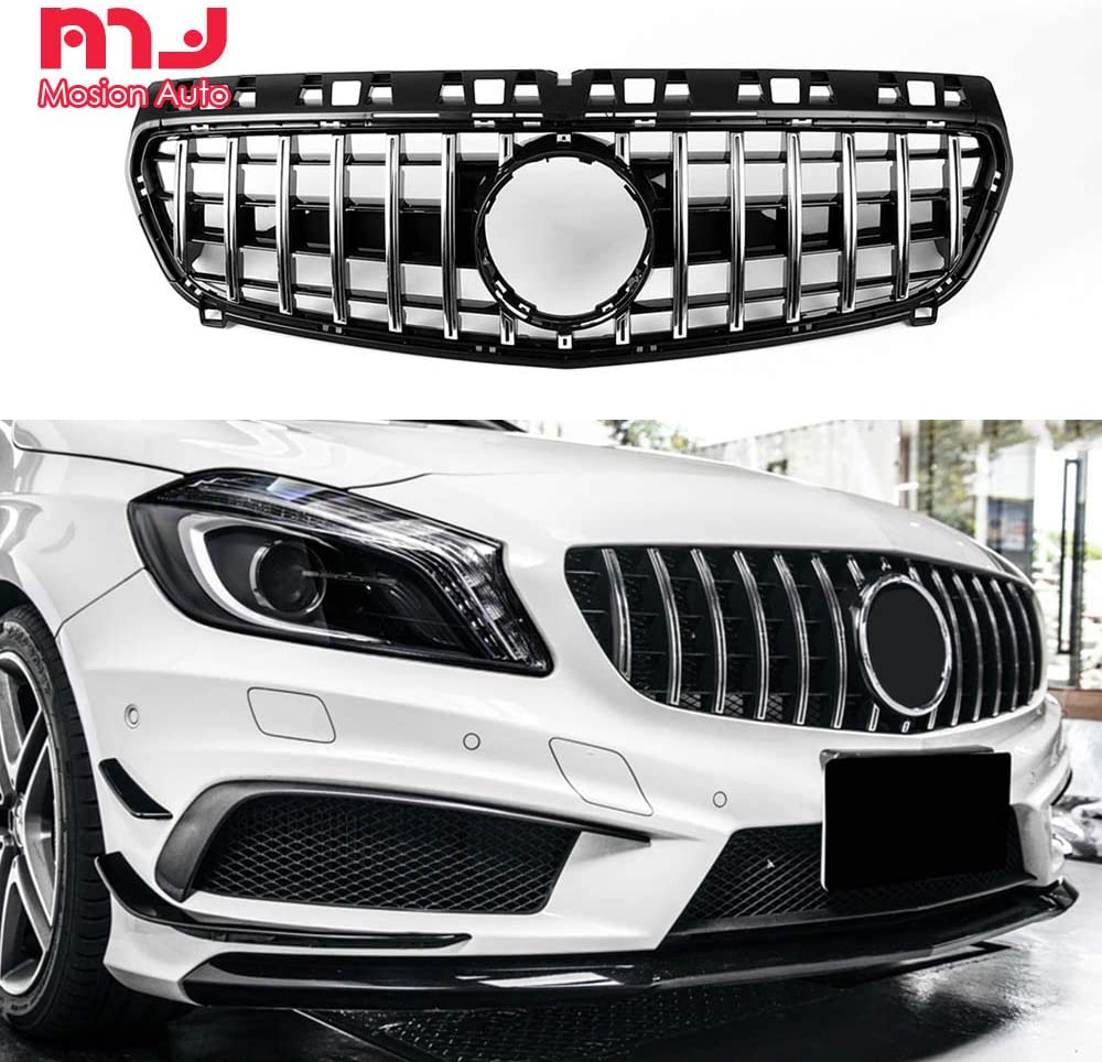 N\A Car grill For A Class W177 A250 A200 A45 AMG 2019 Sliver Diamond Front Grille Grill With Camera