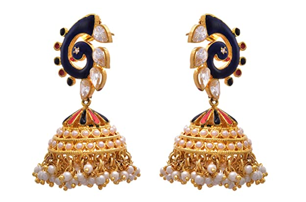9fb146437d Buy JFL - Charimatic Designer Blue One Gram Gold Plated Cz Diamond Pearl  Meenakari Peacock Earring for Girl & Women Online at Low Prices in India |  Amazon ...