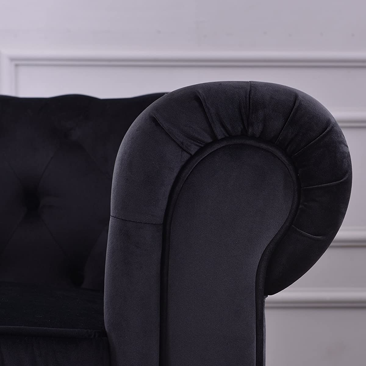 Belleze Classic Scroll Arm Large Velvet Living Room Accent Chair Ultra Soft Tufted, Black