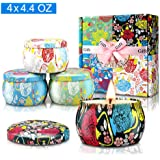 Large Size Scented Candles Gifts Sets for Women-Gardenia, Lavender, Jasmine and Vanilla, Soy Wax Travel Tin Fragrance…