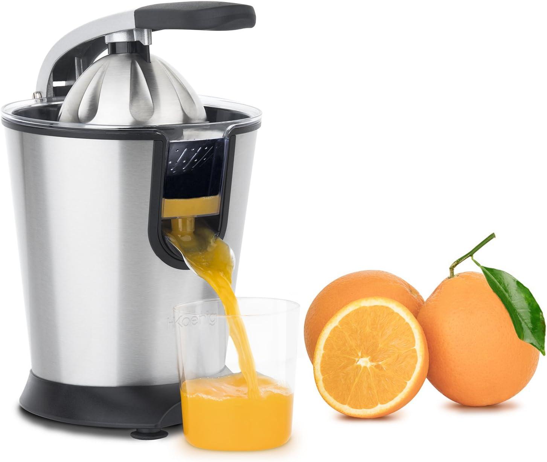 H.Koenig Presse Argumes Electrique levier professionnel Inox AGR80 Sans BPA, Jus Orange, Citron, Pamplemouse, Rapide, Automatique, Silencieux, Puissant 160 W, bec Anti-gouttes, lavable en machine