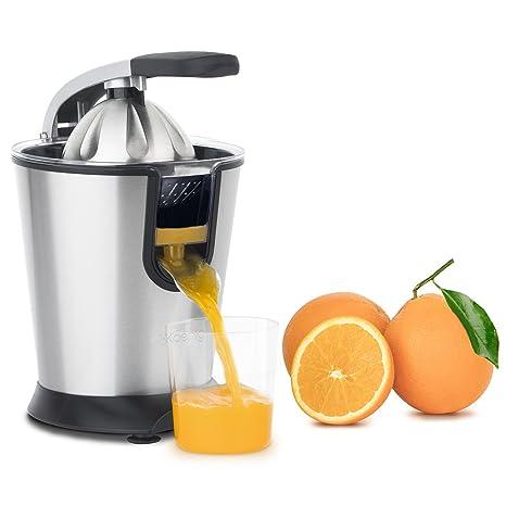 H.Koenig Exprimidor Eléctrico para Cítricos y Naranjas Profesional, 160 W, Libre de BPA, Servicio Directo, Vertido Continuo, Sistema Antigoteo, Acero ...
