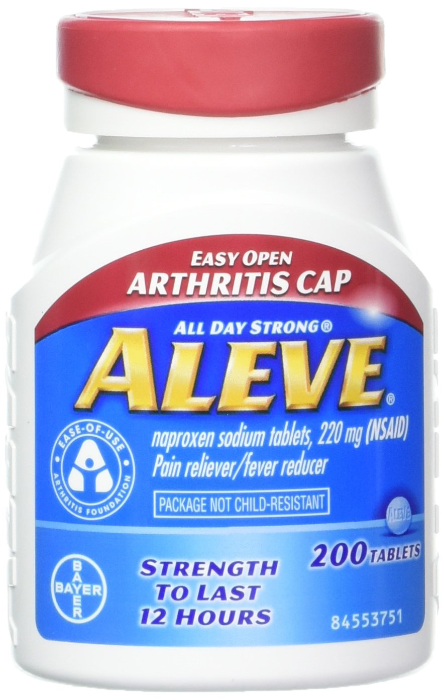 Aleve Tablets with Easy Open Arthritis Cap, Naproxen Sodium, 220mg (NSAID) Pain Reliever/Fever Reducer, 200 Count (Pack of 2) by Aleve