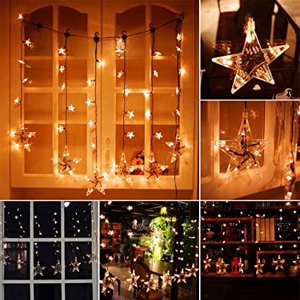 clearance star curtain lights valentines day decor 36 stars 60 leds waterproof curtain string lights