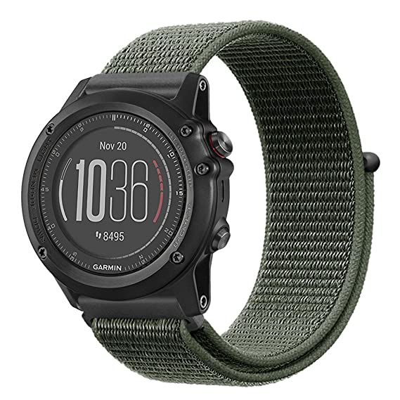 Fintie Band for Garmin Fenix 5X Plus/Tactix Charlie Watch, Nylon Sport Loop Replacement Strap Bands with Adjustable Hook‑and‑Loop Fastener for Garmin ...