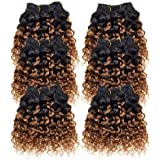 Emmet 7A Afro Kinky Curly Hair Weaves 6pcs/lot 300g 50g/pc Brazilian Human Hair Extensions (1B#/30#)