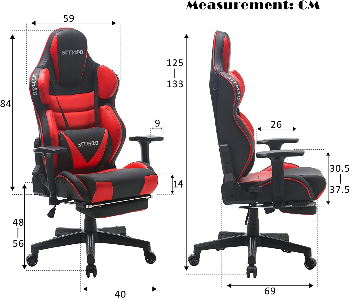 SITMOD Chaise Gaming Fauteuil Gamer Ergonomique 200kg Cuir PU Chaise Racing Pro Massage Inclinable Grande Taille Fauteuil pour Bureau Broderie Lumineuse Si/ège Gamer Bascule avec Repose Pied-Rouge