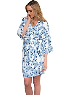 Women s Blue Hydrangea Silk Robe - Short Style with 3 4 Sleeve - XXL ... 85c21ff3e