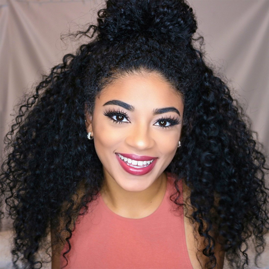 18'' Deep Curly Glueless Lace Front Human Hair Wigs with Baby Hair for Black Women 360 Pre Plucked Virgin Brazilian Deep Wave Wig Adjustable Strap Silk Base Lace Wigs Natural Hairline
