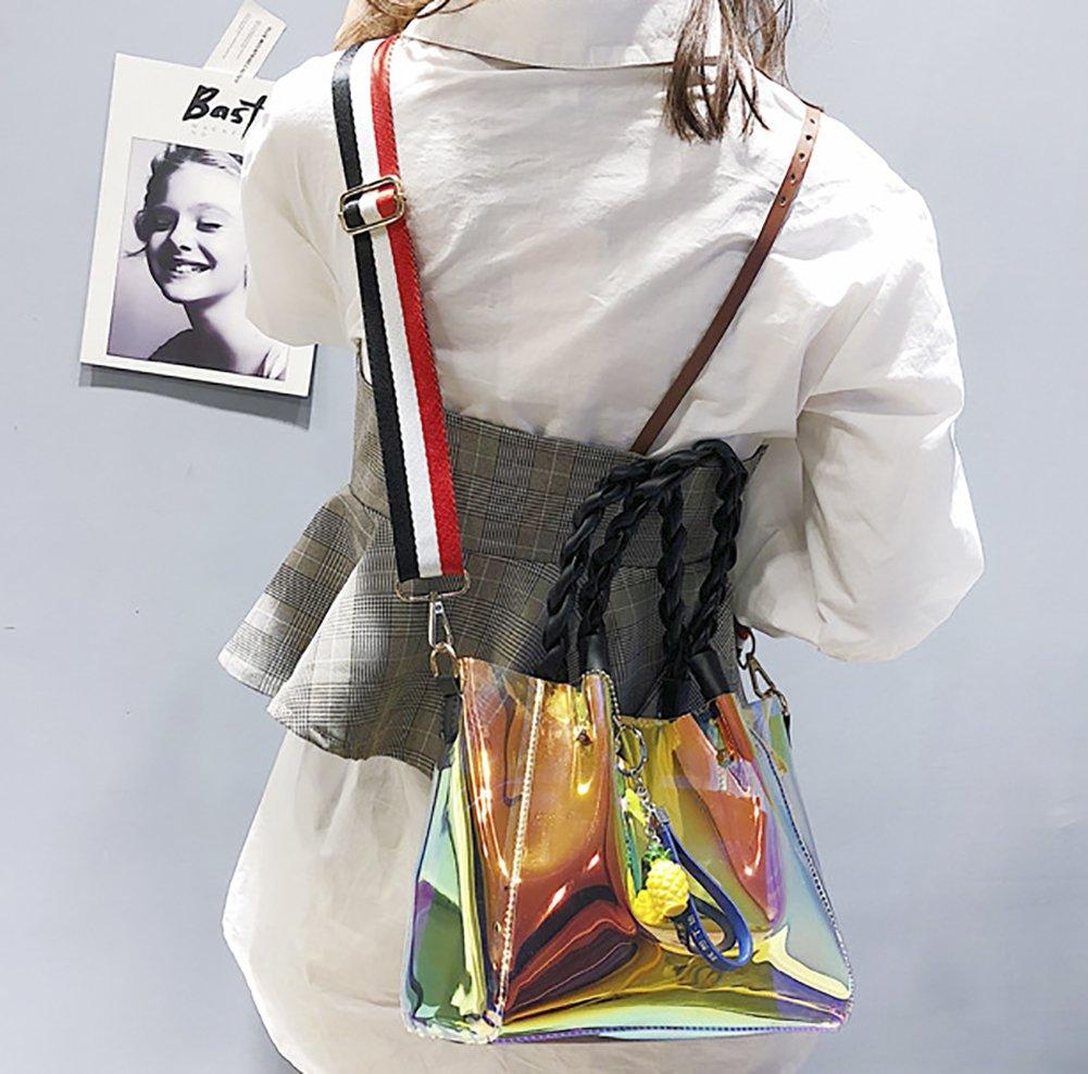 Onfashion Bolso de Mano para Mujer L/áser Transparente Tejido Bolso de Mano Bolso de Hombro Moda Bolso de Shoulder Bolso de Crossbody Blanco