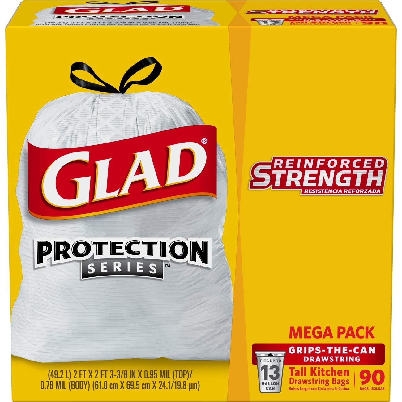 Glad OdorShield Protection Series Tall Kitchen Drawstring Trash Bags - Febreze Fresh Clean - 13 Gallon - 90 Count