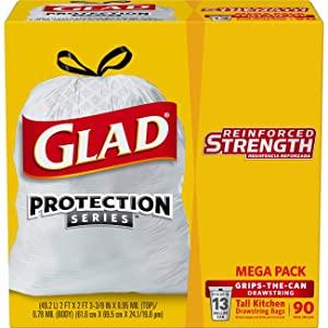 Glad OdorShield Protection Series Tall Kitchen Drawstring Trash Bags - Febreze Fresh Clean - 13 Gallon - 90 Count