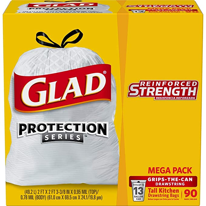 Glad Tall Kitchen Drawstring Trash Bags, 13 Gallon, 90 Count by Glad: Amazon.es: Hogar