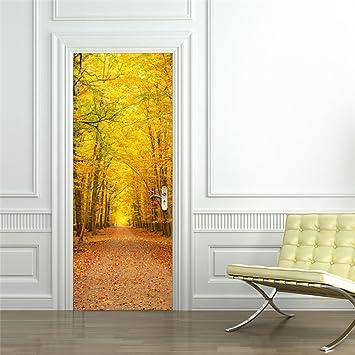 Lieblich ZHANGQI 3D Ideen Herbstlaub Landschaft Renovieren Dekoration Schlafzimmer  Wohnzimmer Tür Verputzt Wasserdicht Abnehmbar,77 *