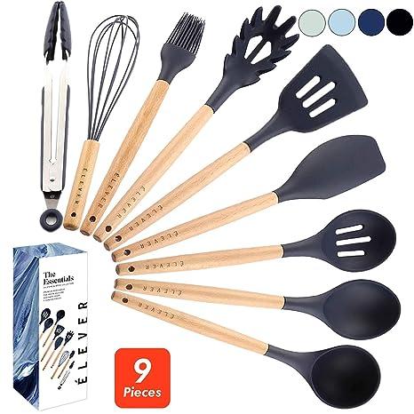 ÉLEVER Kitchen Utensil Set - 9 Cooking Utensils. Kitchen Gadgets for  Nonstick Cookware Set. Kitchen Accessories, Silicone Spatula set, Serving  ...