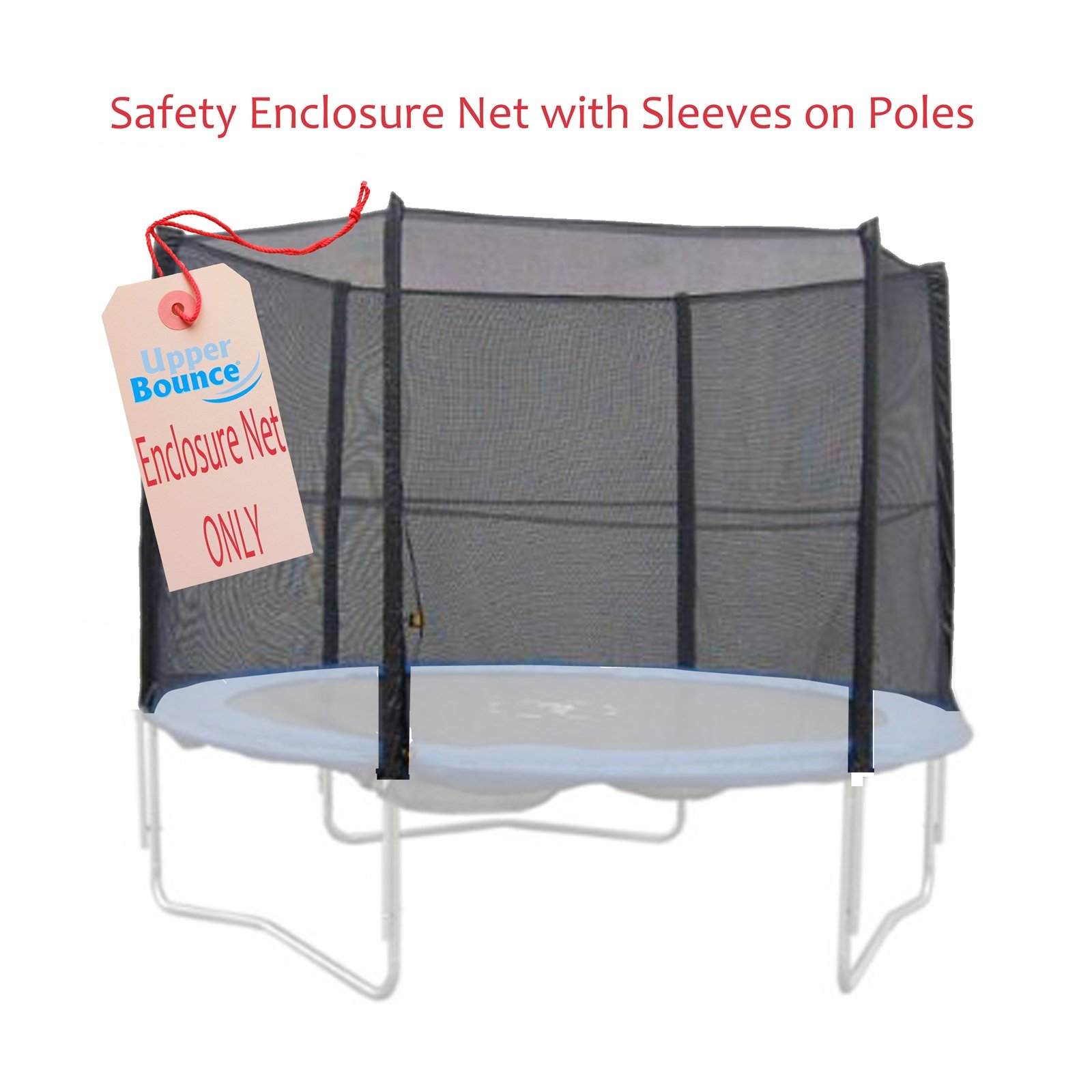 Upper Bounce Trampoline Enclosure Safety Net Fits for 7.5-Feet Round Frame Using 6 Straight Poles, Installs Outside of Frame- (Poles Sold Separately)