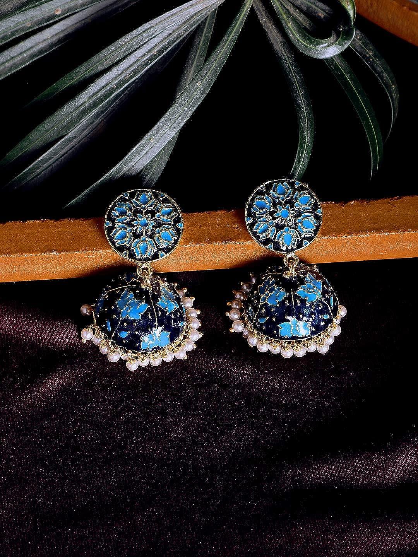 ZeroKaata/Fashion Jewellery Blue Lotus Meenakari Jhumki Earrings For Women /& Girls