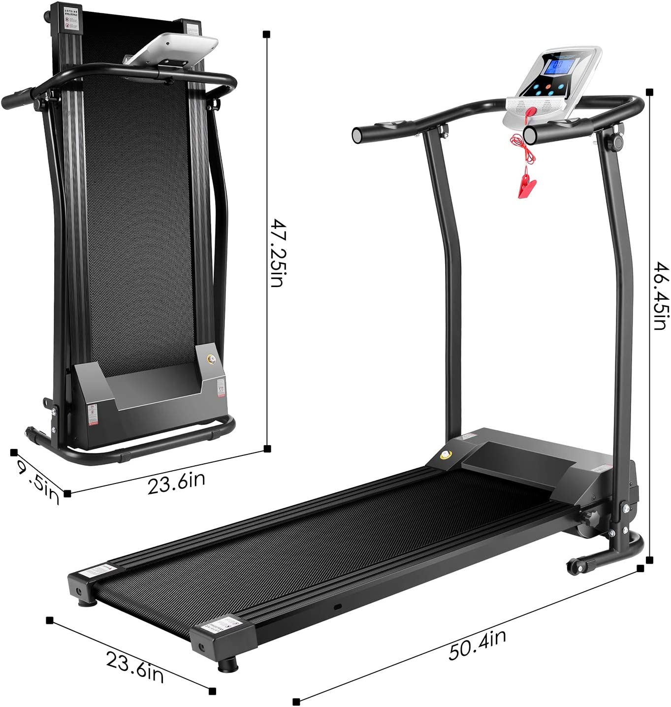 Mauccau Folding Electric Treadmill Exercise Machine with LCD ...