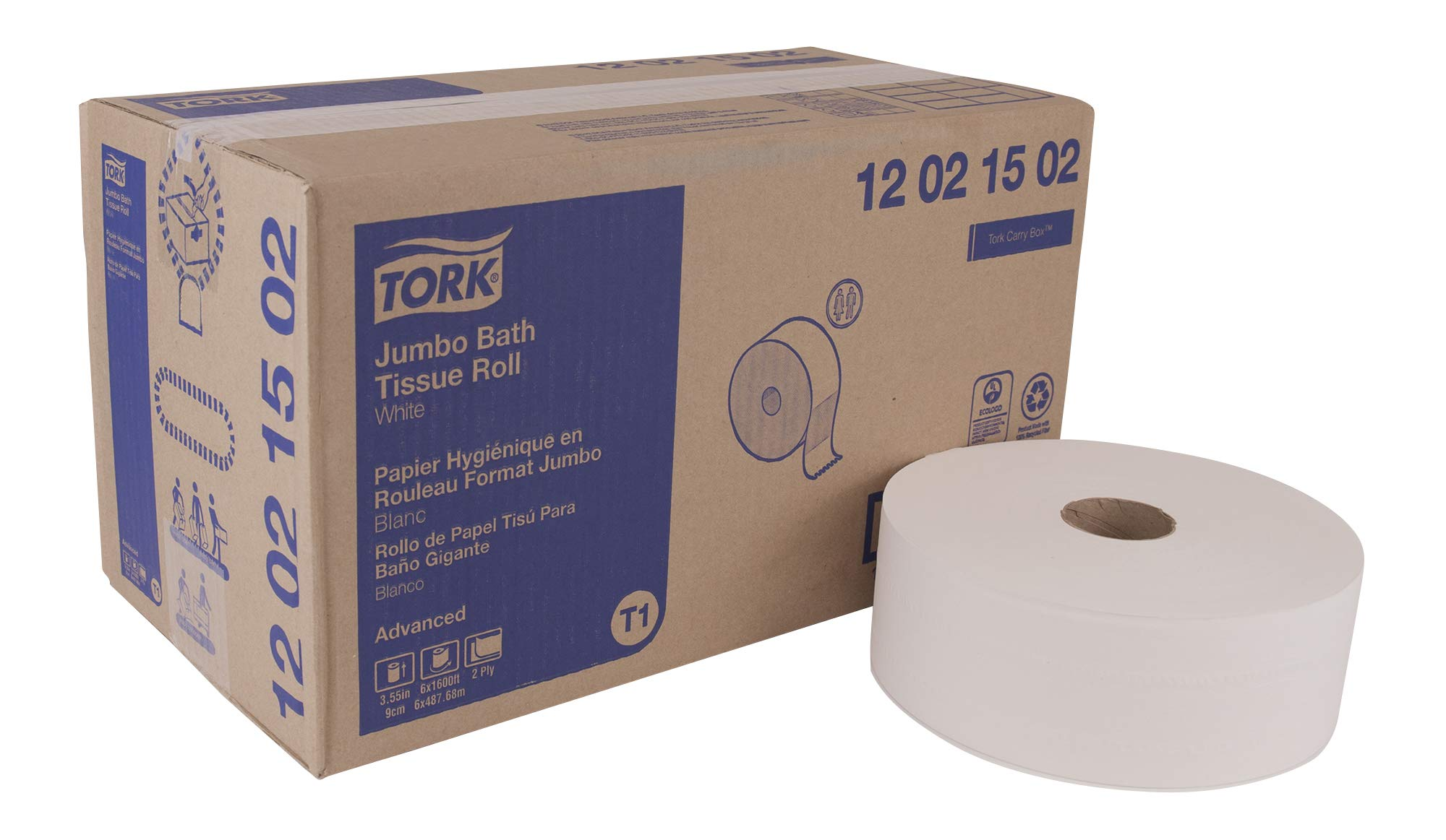 Tork Advanced 12021502 Jumbo Bath Tissue Roll, 2-Ply, 10'' Diameter, 3.55'' Width x 1,600' Length, White (Case of 6 Rolls, 1,600' per Roll, 9,600 Feet) by Tork