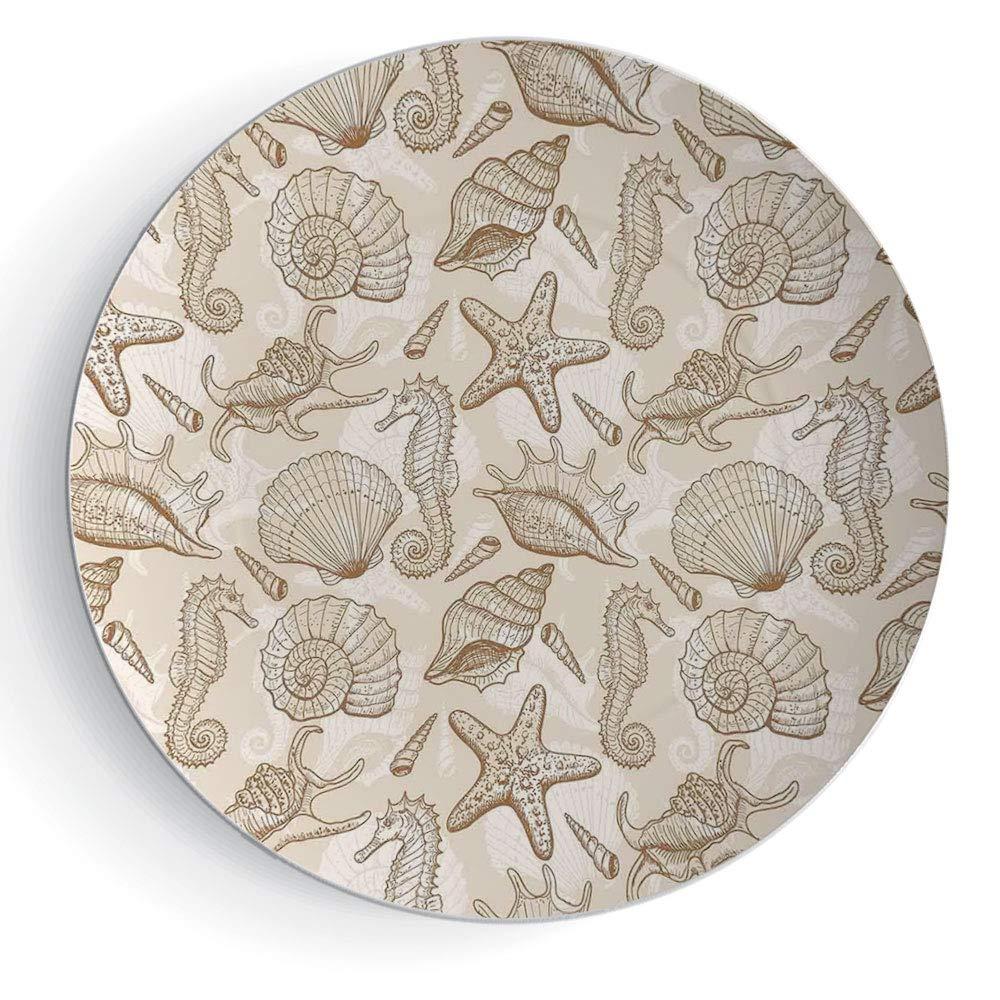 7'' Decorative Ceramic Plate Beige Exotic Marine Animals in Retro Style Ilustration Shells Starfish Seahorse Contemporary Deco Decorative