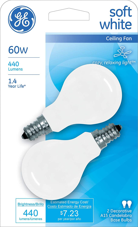Ge Soft White 71396 60 Watt 440 Lumen A15 Light Bulb With Candelabra Base 2 Pack Com