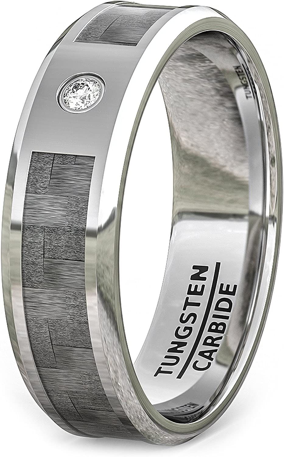 Duke Collections 8mm Mens Tungsten Ring Carbon Fiber with Zircon Beveled Edge