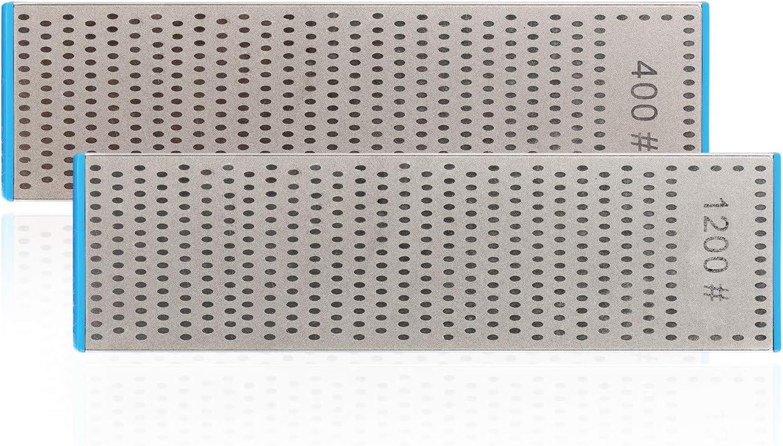 | DMD Double-Sided Diamond Sharpening Stone | Delux Diamond Whetstone | Professional Bench Stone | Knife Chisel Honing Stone| 10 Inch | (400/1200#) - -