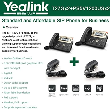 POE No Power Supply Executive IP Phone 6 line Yealink SIP-T27P LCD