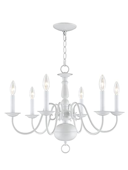 Livex Lighting 5006-03 Williamsburg 6-Light Chandelier, White