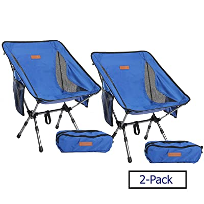 Boundary Life Portable Camp Chair: [2-Pack] Camping, Backpacking and Hiking - Compact Collapsible and Light Chairs fit in a Backpack Great for Hunting Fishing Picnic or Beach (2 Pack - Blue): Automotive