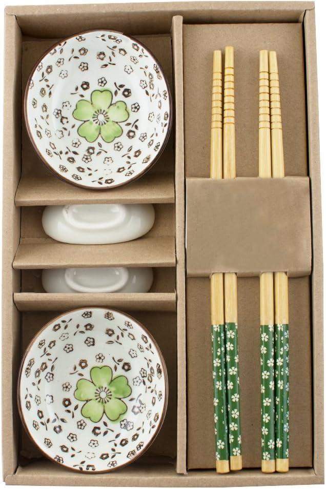 jinon japonés vajilla de cerámica servicio de Sushi Set de plato para salsas para dos en caja de regalo tres colores a elegir: Amazon.es: Hogar