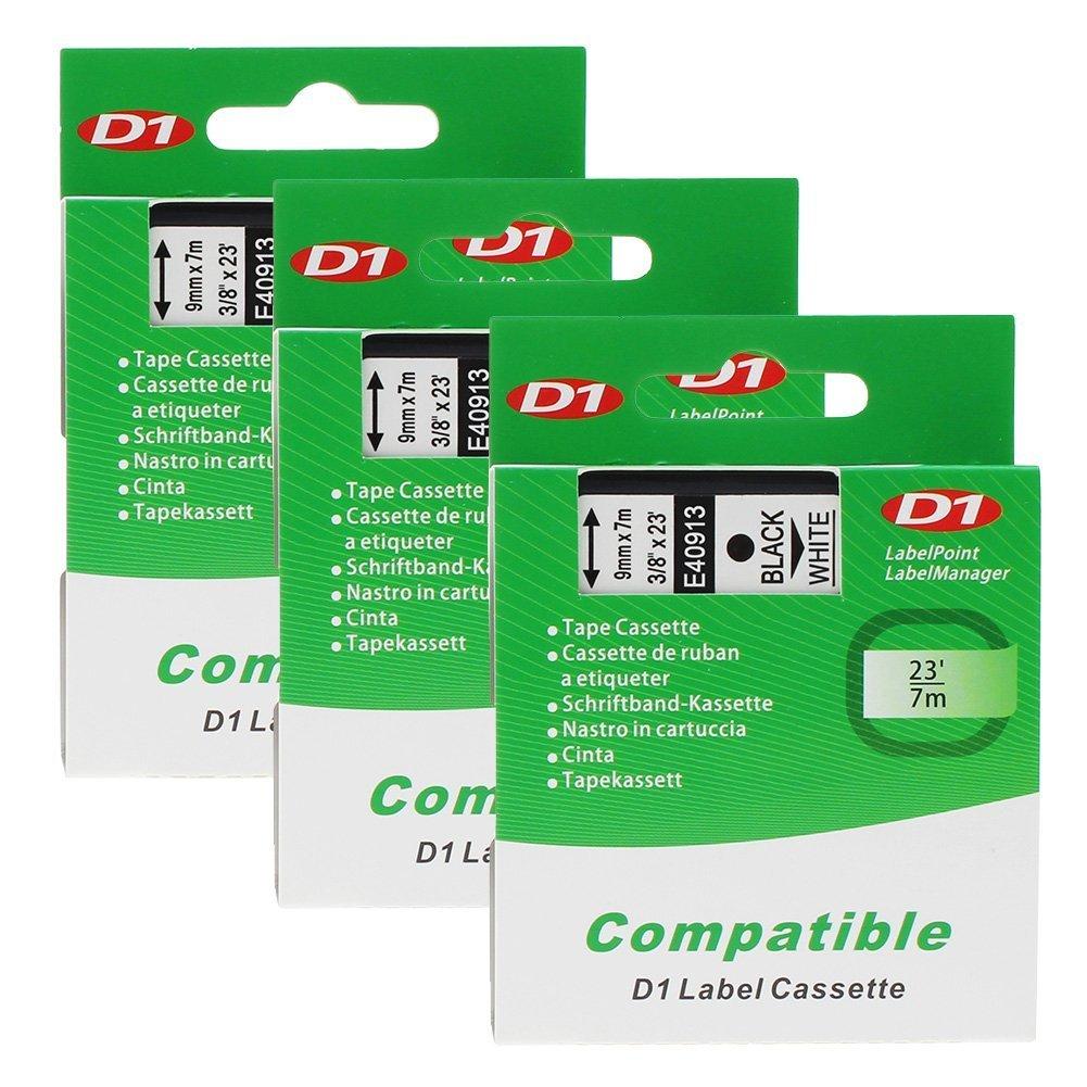 3 x D1 40913 / S0720680 Nero su Bianco 9mm x 7m Label Tape Nastro per Etichette per DYMO LabelManager et LabelPoint LP100, LP150, LP200, LP250, LP300, LP350, PC, PC2, PnP, PnP WiFi, LW400, LW450 Duo Unistar