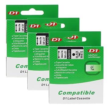 3x Kompatibel zu Dymo Schriftband D1 45013 Schwarz auf weiß 12mm LM 400 450 120P