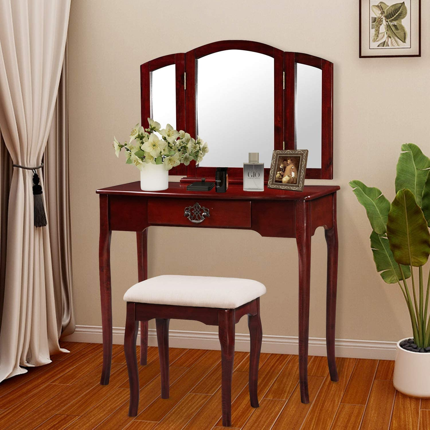 Harper Bright Designs Vanity Set Make-up Dressing Table with Mirror and Cushioned Stool Brown