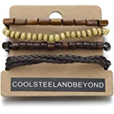 Mix of 4 Brown Wrap Bracelets for Men and Women, Multi-strand Wood Beads Leather Wristbands