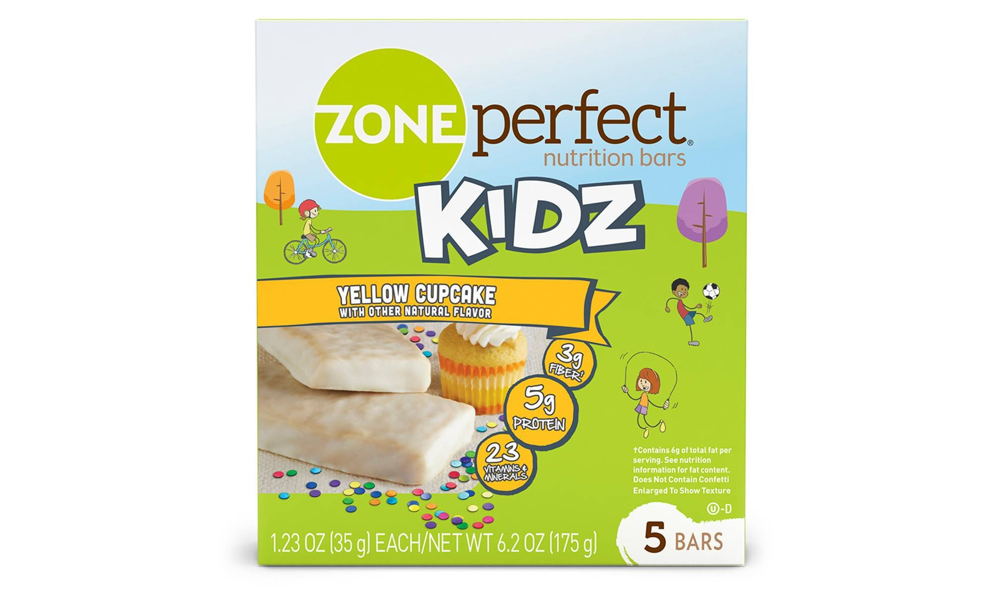Zone Perfect Kids Yellow Cupcake Nutrition Bars 1.23ozx 5 bars(total 6.15oz) by Zone Perfect