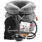 easyGiraffe Cervical Neck Traction Device & Neck Stretcher - Inflatable & Adjustable Brace Collar & Neck Support Pillow - Ide