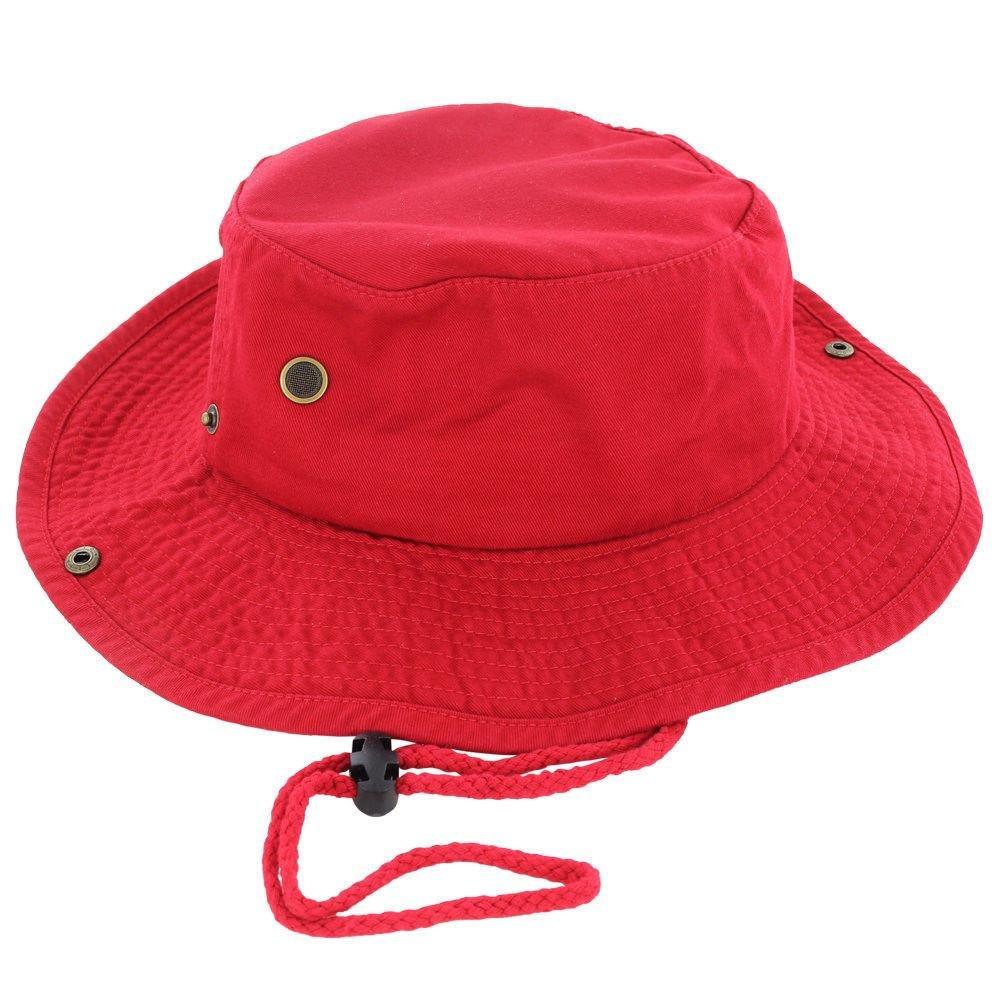 Red_(US Seller)Cotton Hat Boonie Bucket Cap Summer Men Women by 9Proud