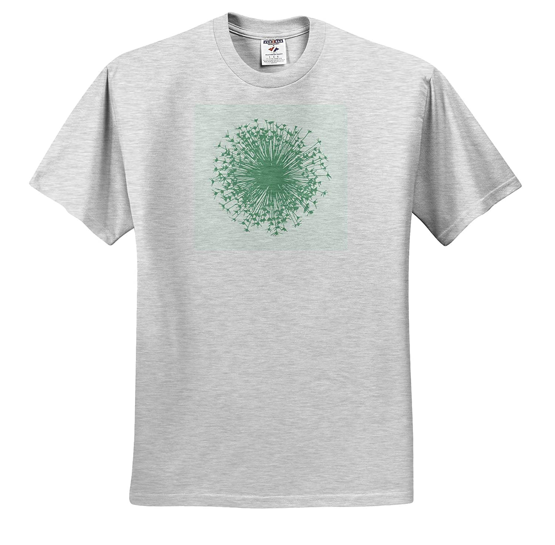 T-Shirts 3dRose Russ Billington Designs Dusky Green Dandelion Head Silhouette Design on White Background