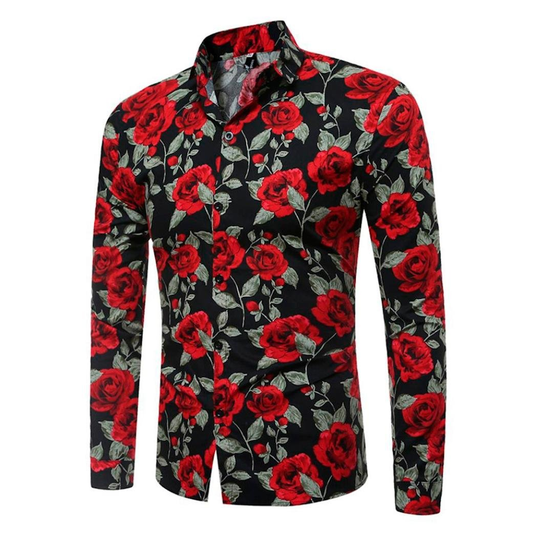 Longay Men's Floral Prints Shirt Plus Size Slim Fit Short Sleeves Casual Button Shirts Formal Printing Top Blouse (M, Black)