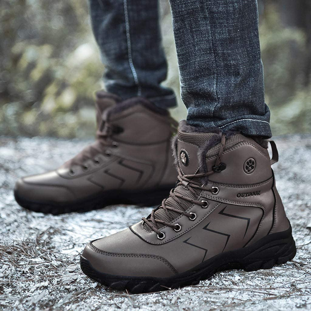 Futurelove ⭐ Winter Men Lace-Up Mountaineering Sport Shoes Keep Warm Mountaineering Snow Boot Ultra Flex Non-Slip Outdoor Shoes