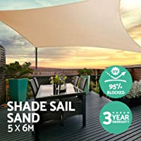 Instahut 5 x 6m Rectangle Heavy Duty Shade Sail Cloth - Sand Beige