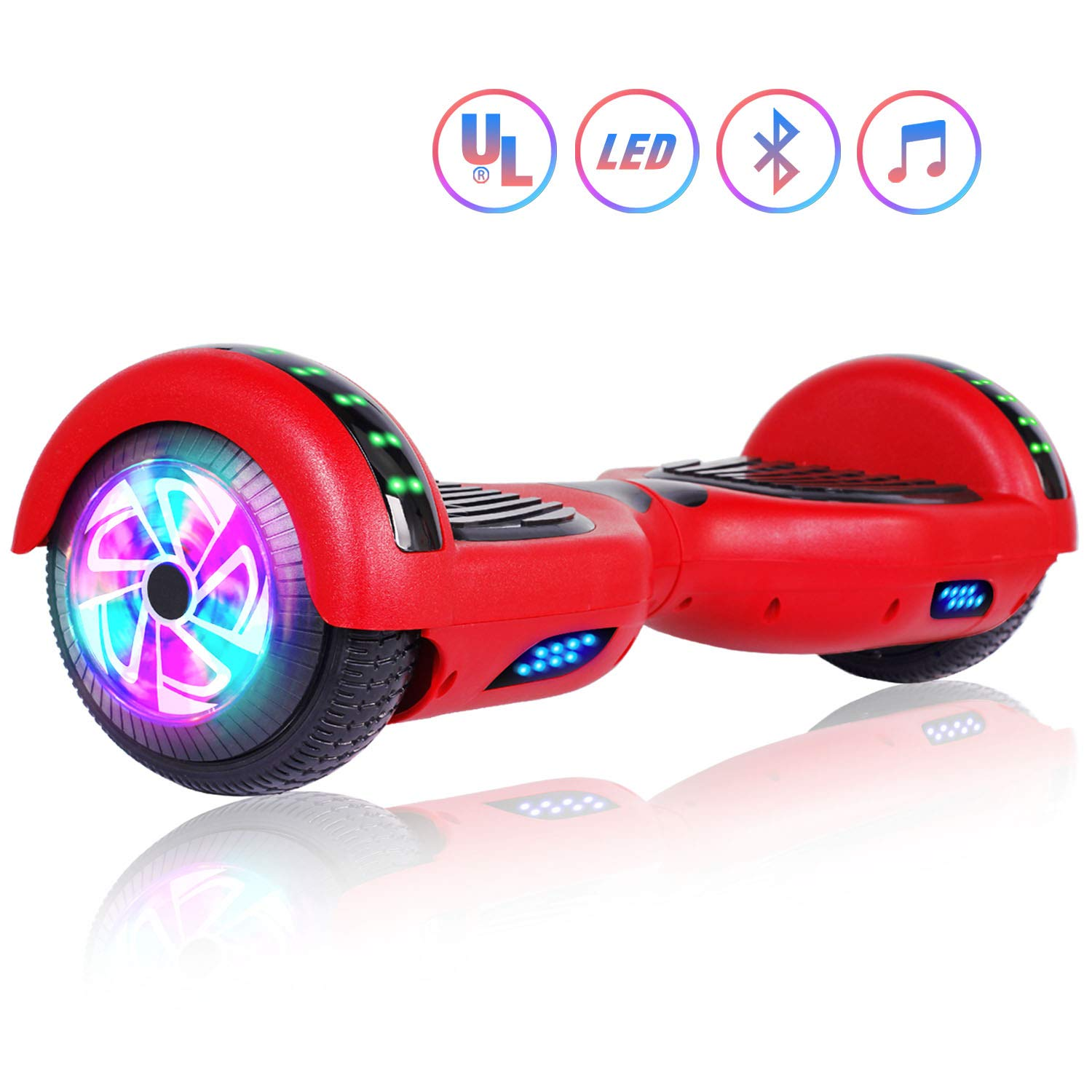 Felimoda 6.5'' inch Two Wheels Electric Smart Self Balancing Scooter Hoverboard with Wireless Speaker LED Light-UL 2272 Certified for Kids Gift and Adult,Red