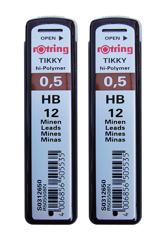 2 Pcs. Rotring Tikky Mechanical Pencil Lead 0.5mm Hb, 12 Lead