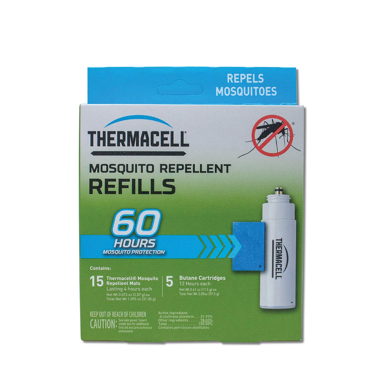 Thermacell Mosquito Repellent Refills, 60-Hour Pack; Contains 15 Repellent Mats, 5 Fuel Cartridges; Compatible with Any Fuel-Powered Thermacell Product; No Spray, Scent, Mess; 15 Ft Zone of Protection by Thermacell