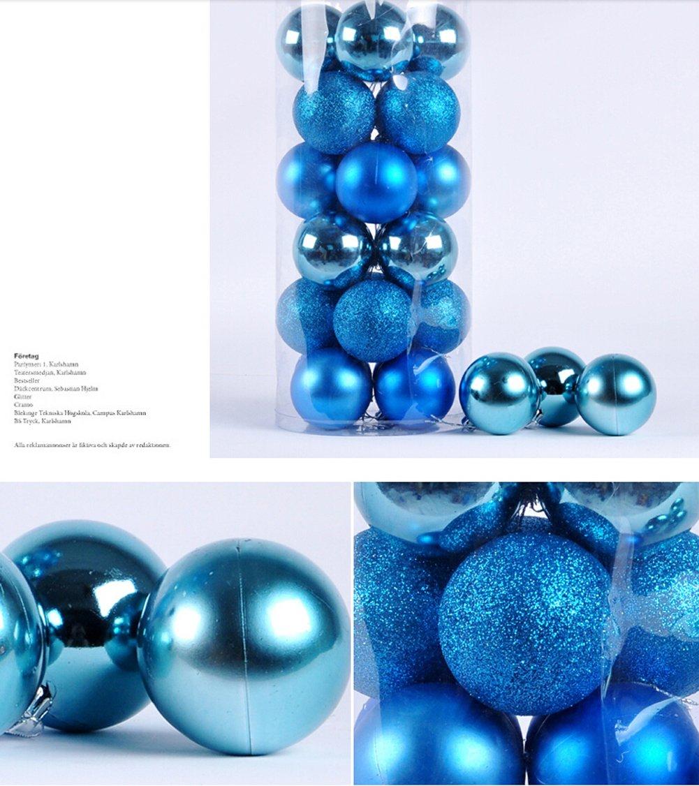 "Multi-color Shiny & Matte Shatterproof Christmas Trees Pendant Christmas Ball Ornament Set - 24 Pieces (Blue, 5cm(1.97"")) 5cm(1.97"")) Kederastyle CSQ-10"