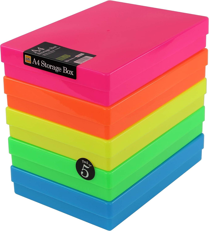 WestonBoxes - Caja de almacenamiento A4 para papel A4 y manualidades (Neón Colores Mezclados, Paquete de 5): Amazon.es: Oficina y papelería